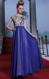 Modest Blue Keyhole Back Formal Evening Prom Dress