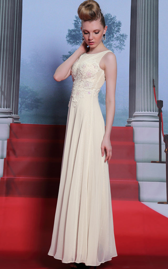 Boat Neck Ivory Modest Floor Length Formal Prom Evening Dress