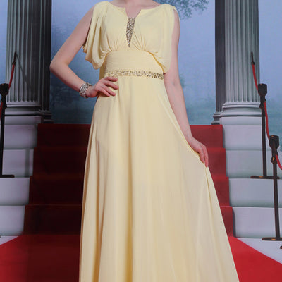 Yellow Modest Hobo Style Formal Prom Evening Dress