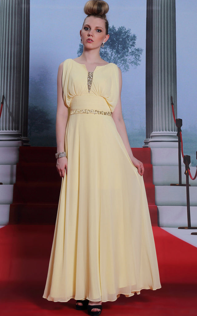Yellow Grecian Chiffon Evening Dress Formal Dress