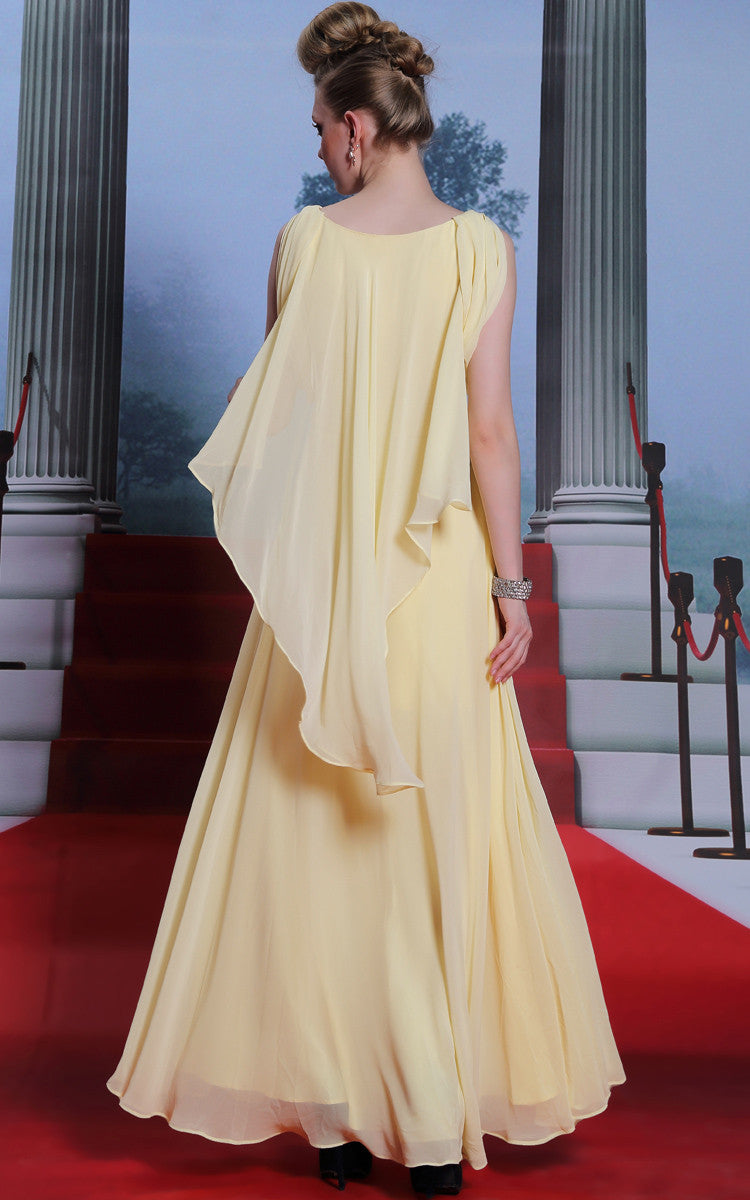 Yellow Modest Grecian Hobo Style Formal Prom Evening Dress