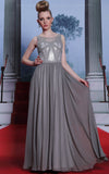 Gray chiffon floor length formal dress prom dress