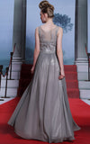Gray Boat Neck Modest Formal Prom Dress