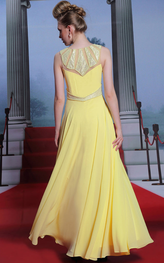 Yellow Modest Grecian Formal Prom Evening Dress with Sequins