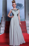 Gray Modest Boat Neck Prom Dress with Black Lace