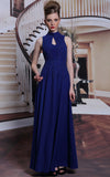 Blue keyhole chiffon prom dress formal dress evening dress