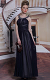 black long halter chiffon formal dress prom dress evening dress