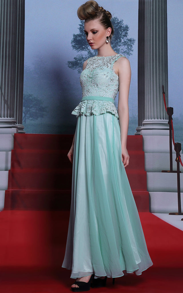Retro sage green lace long formal evening dress