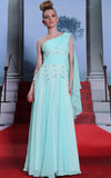 Grecian one shoulder turquoise chiffon prom dress