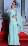 Grecian one shoulder turquoise chiffon formal prom dress