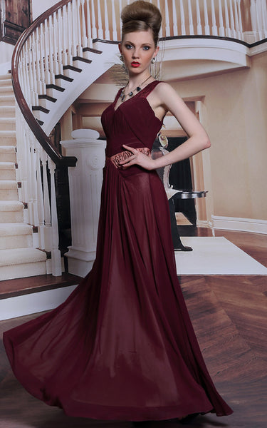 elegant burgundy v neck chiffon prom dress formal dress evening dress