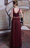 Burgundy V Neck Elegant Prom Formal Evening Dress