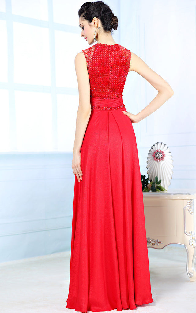 Red Modest Formal Prom Evening Dress