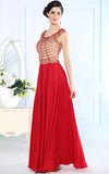 Red Modest Formal Evening Dress with Beadings