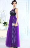 Purple Modest V Back Tulle Formal Prom Evening Dress