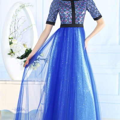 Modest Blue Evening Dress with Short Sleeves