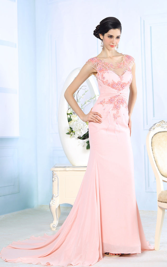 Pink Elegant Sleek Pageant Evening Dress with Beadings