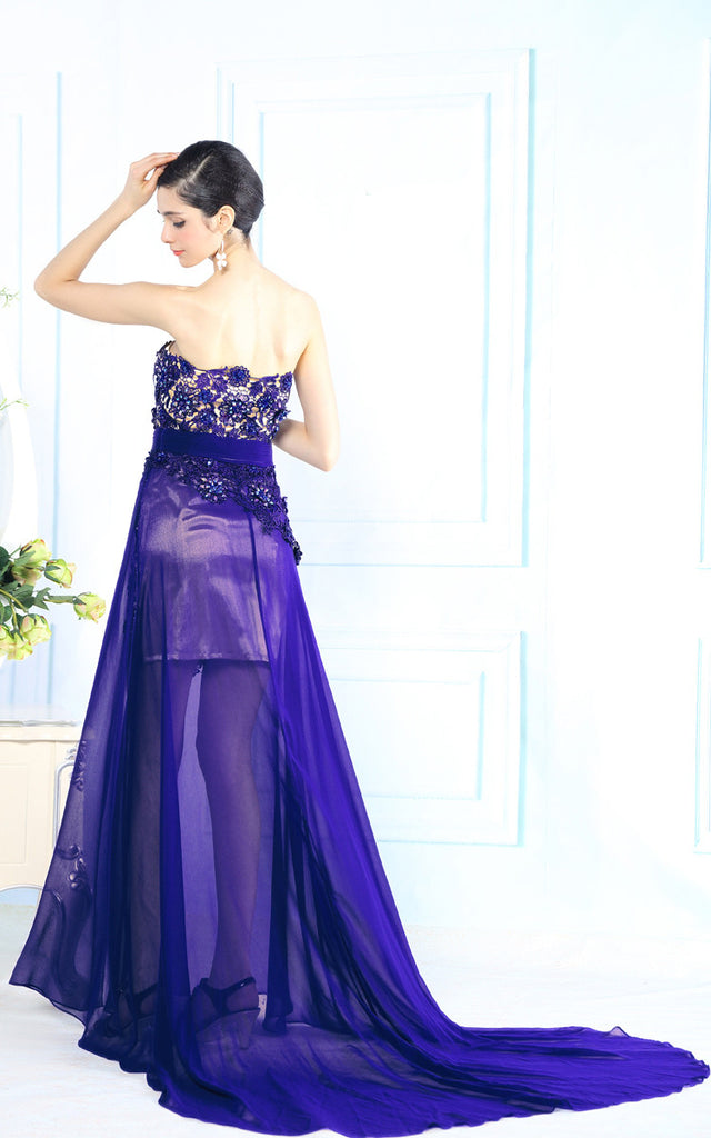 Hot Purple Strapless Lace Evening Dress with Side Slit