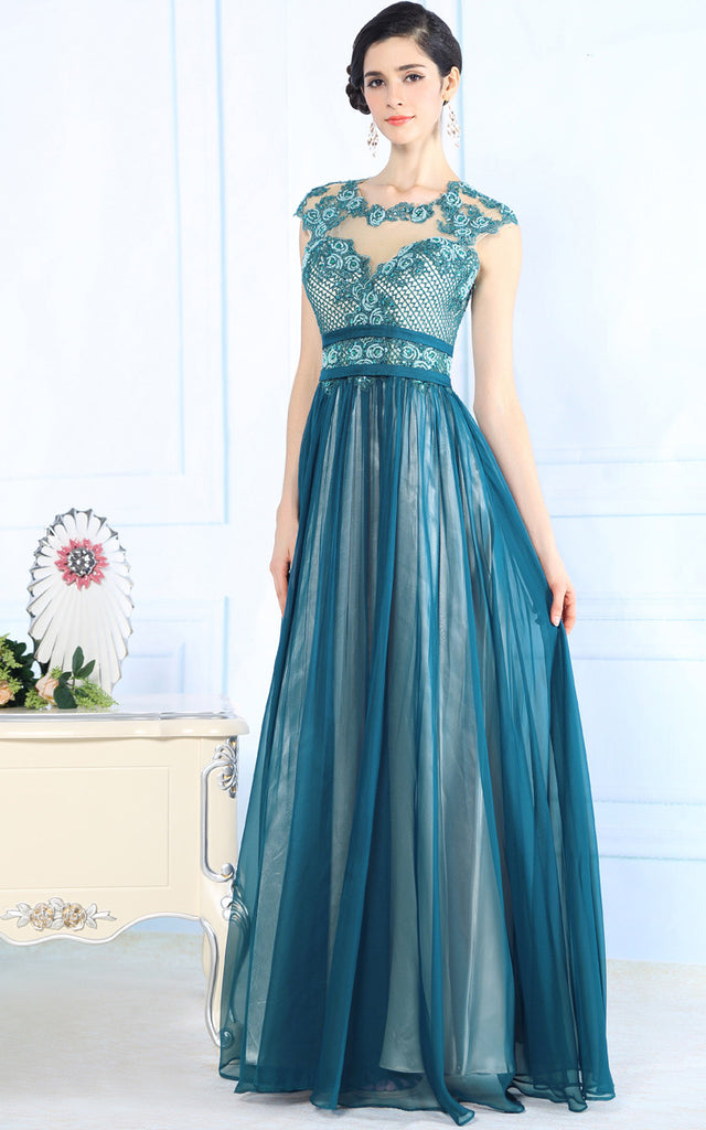 Teal Silk Chiffon Modest Lace Formal Prom Evening Dress – JoJo Shop