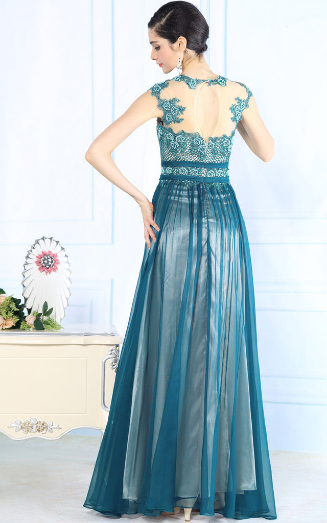 Teal Silk Chiffon Modest Lace Formal Prom Evening Dress