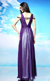 Purple V Neck Formal Prom Evening Dress