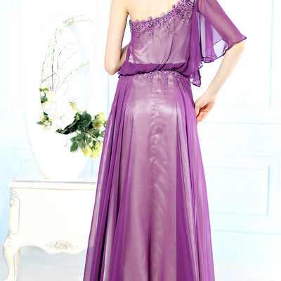 Grecian Purple One Shoulder Hobo Style Evening Formal Dress