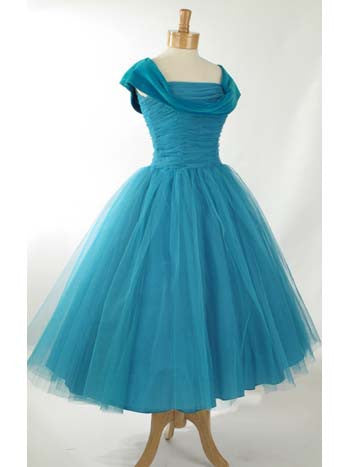 bab17f7c9f Vintage Retro 50s Tea Length Prom Formal Dress
