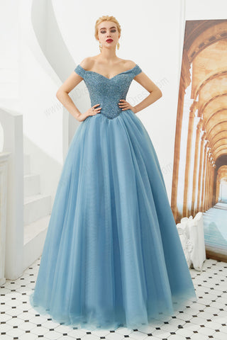 dusty blue ball gown prom dress with off the shoulder neckline