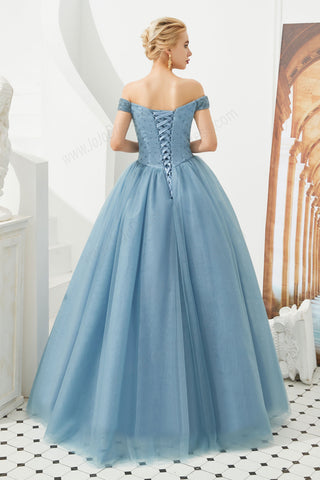 Dusty Blue Ball Gown Prom Evening Dress with Off the Shoulder Neckline