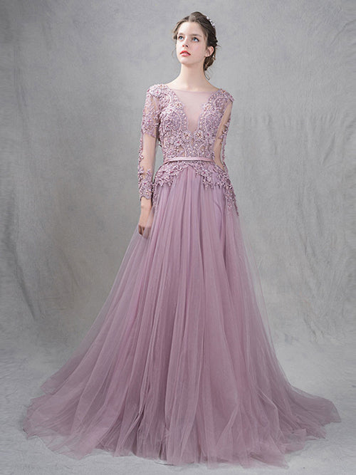 Dusty Purple Princess Prom Formal Dress with Open Back