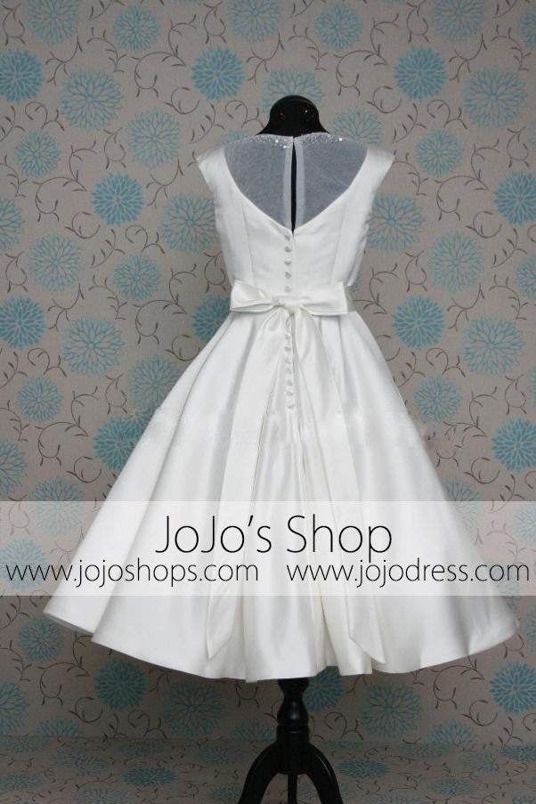 Retro 50s 60s Short Tea Length Modest Wedding Dress with Sash Tie