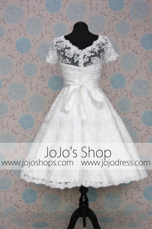 Retro Vintage 50s Modest Lace Short Tea Length Wedding Dress