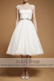 Retro 50s 60s Short Knee Length Modest Short Sleeves Wedding Dress with Sash Tie