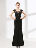 Elegant Black Lace Formal Evening Dress
