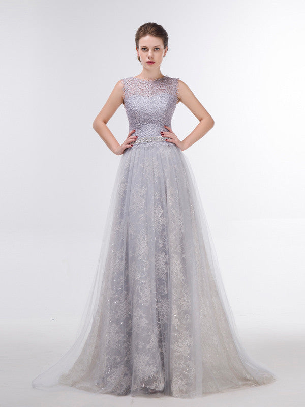 Elegant Gray Lace Formal Evening Dress