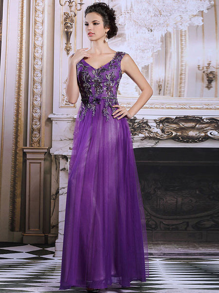 Elegant Purple Grecian Tulle Formal Prom Evening Dress