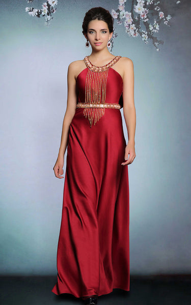 Elegant Red Halter Formal Prom Evening Dress | DQ831261
