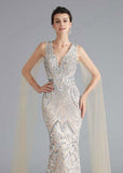 Silver Sequin Beauty Pageant Dress in Sleek Mermaid Style