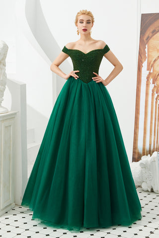 Emerald Green Ball Gown Prom Evening Dress with Off the Shoulder Neckline
