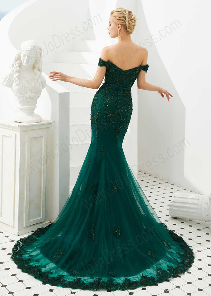 Emerald Green Mermaid Lace Prom Formal Dress with off the shoulder neckline