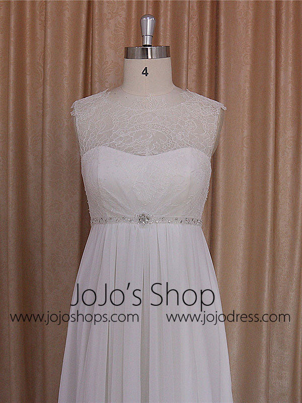 Empire Chiffon Dress with Chantilly Lace Bodice | BB002