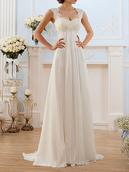 Elegant Chiffon Wedding Dress with French Lace Cap Sleeves | BB001