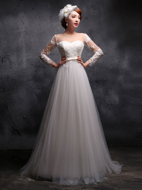 Modest Vintage Style Empire Waist Long Sleeves Lace Wedding Dress Formal Evening Gown Prom Dress X027