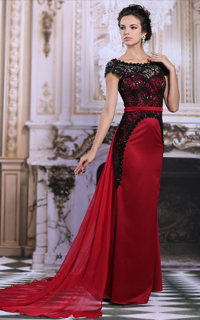 Exquisite Black Lace Red Formal Pageant Military Ball Stage ...