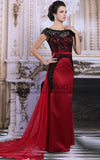 Exquisite Black Lace Red Formal Pageant Military Ball Stage Performing Dress | DQ831299