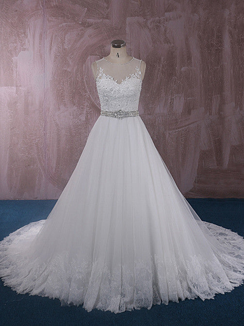 Elegant Ball Gown Lace Dress with Illusion Neckline and Back | QT815007