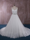 Elegant Ball Gown Lace Wedding Dress with Illusion Neckline and Back | QT815007