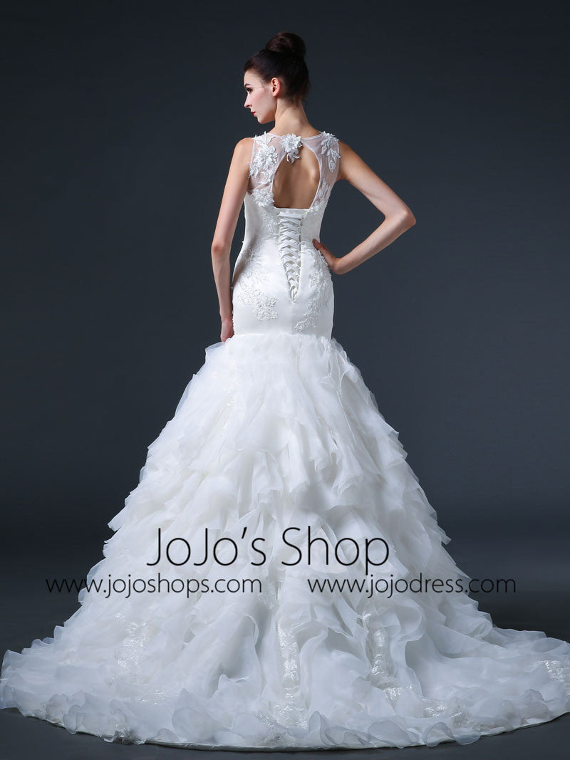 Fit and Flare Ruffle Wedding Dress with Keyhole Back