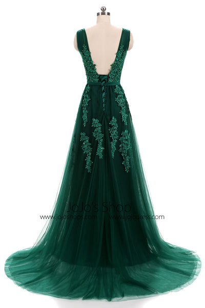 Forest Green Lace Formal Prom Evening Dress with Open Back