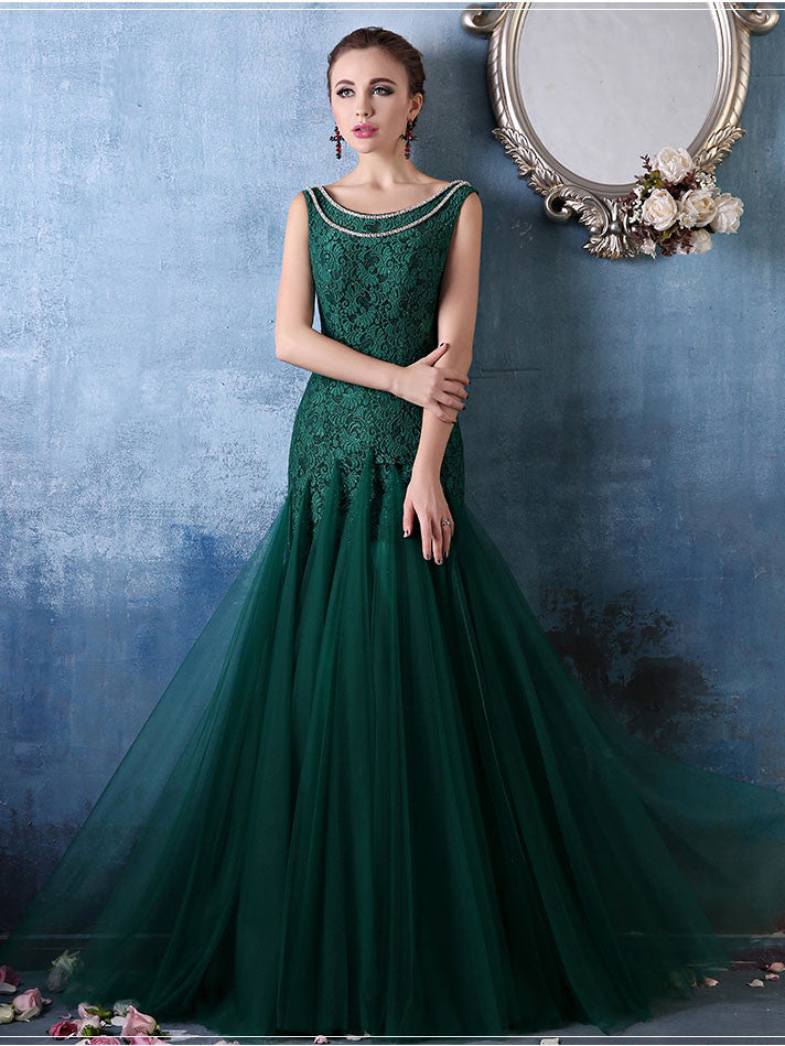 Forest Green Elegant Mermaid Fitted Lace Formal Evening Prom Dress